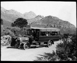 Cape Town. City Tramways passenger bus at Constantia Nek heading for Hout Bay.