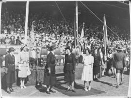 Cape Town, 23 April 1947. Princess Elizabeth at the Girl Guide rally in Rosebank.