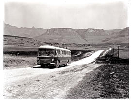 """Drakensberg, 1967.  SAR Mercedes MT16949 motor coach on country road in Royal Natal Nationa..."