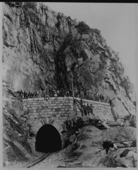 Waterval-Boven. Railway tunnel eastern portal with construction gang and lifting gear.