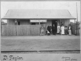 Magalapye, Bechuanaland. Staff at corrugated iron station building. (D Taylor, Mafeking)