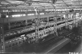 Bloemfontein, 1935. Interior of large railway workshop.