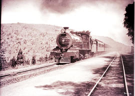 Pretoria. SAR Class 16 with train passing the old Ashbury station between Fountains and Kloofsig ...