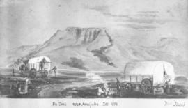 Volksrust district, 1878. On trek near Majuba. (Copy from old print by Mrs Roberts)