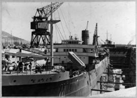 Cape Town, 25 February 1947. The 'Erica' in the Sturrock graving dock, Table Bay Harbour.