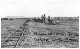 Naboomspruit district, circa 1924. Ballasting the track with gravel. (Album on Naboomspruit - Sin...