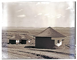 Transkei, 1951. Decorated huts.