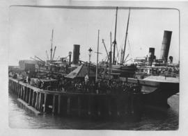 Cape Town, 22 January 1902. Ship at large wooden jetty in Table Bay Harbour.
