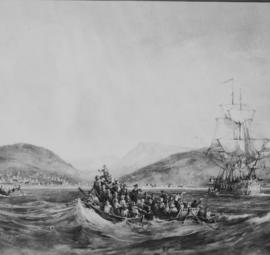 Port Elizabeth, 1820. Landing of 1820 settlers. (Reproduction)