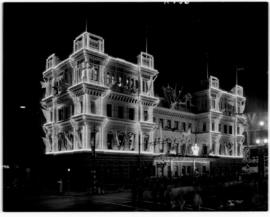 Cape Town, 21 February 1947. Old station in Adderley Street floodlit with decorative lights for d...