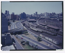 Johannesburg, 1969. Braamfontein railway yard, looking east.