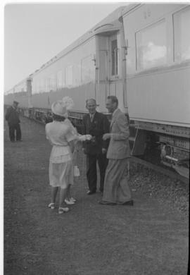 Breede River, 19 April 1947. Royal Family taking leave of the Royal Train staff at the final stag...