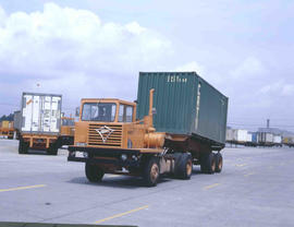 Johannesburg, 1978. SAR Foden B18073 truck with container at City Deep container depot.