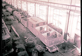 Pietermaritzburg, 1938. SAR Class ES1 being built in electrical locomotive erection shed.