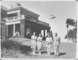 Durban, 20 March 1947. Royal family on the lawn in front of King's House.