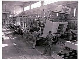 """Johannesburg, 1975. Assembly of SAR motor coach body in Road Transport Services workshops a..."