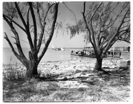 Vaal Dam, circa 1948. BOAC Solent flying boat G-AKCR 'Saint Andrew'. Aricraft and jetty viewed fr...