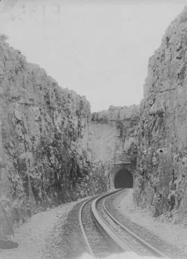 Waterval-Boven. Railway tunnel western portal with rack rail in foreground.