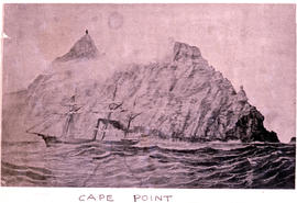 Cape Town, 1948. Sketch of Cape Point lighthouse.