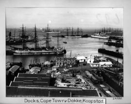 Cape Town. Table Bay Harbour and docks with many sailing vessels.