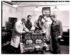 """Johannesburg, 1962. Apprentices being instructed in SAR Road Transport Services workshops a..."