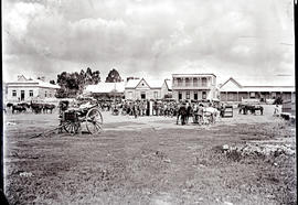 Heilbron. Marker Square and horse carts with buildings in background.