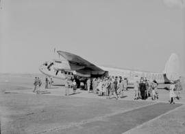 Johannesburg, September 1945. Palmietfontein. Arrival of Avro York G-AGNR with passengers on apron.
