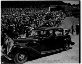 East London, 3 March 1947. Royal couple in Daimler bearing the Royal party at the opening and nam...
