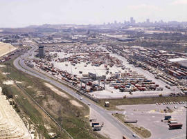 Johannesburg, 1983. Aerial view of the City Deep container depot.