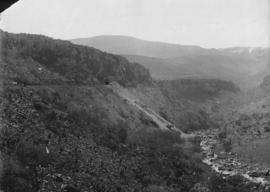 Waterval-Boven tunnel. Eastern portal from a distance with Elands River on the right and Onderval...