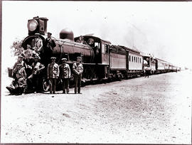 Palapye Road, Bechuanaland, 1910. Royal Tour train of the Duke of Connaught. RR Class 8 No 61 fol...