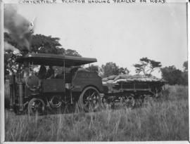 Naboomspruit - Singlewood roadrail line, circa 1924. Convertible tractor hauling road trailer. (A...