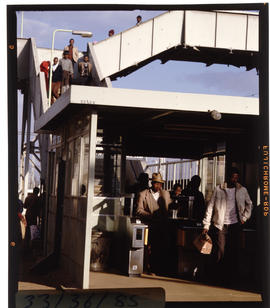 Johannesburg, 1985. Automatic ticket barrier at Elsburg station. [T Robberts]