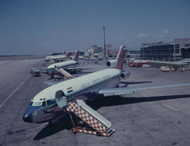 Johannesburg, 1967. Jan Smuts Airport. Three SAA Boeings 727 lined up on apron.
