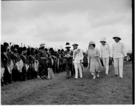 Swaziland, 25 March 1947. Royal family inspect the guard of honour.