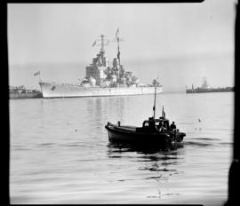 Cape Town, 17 February 1947. 'HMS Vanguard' berthed in Table Bay Harbour.