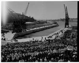 East London, 3 March 1947. Princess Elizabeth graving dock before the official naming ceremony.