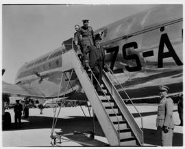 May 1946. Trip to Cape Town with SAA Douglas DC-4 ZS-AUA 'Tafelberg', Minister Sturrock disembark...