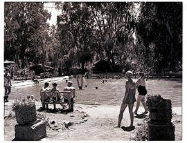 """Aliwal North, 1946. Bathers at hot springs swimming pool."""