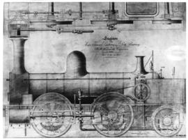Drawing of locomotive for the Cape Town Railway and Dock Company No 1-8 built by R & W Hawth...