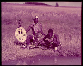 Melmoth district. Zulu warriors at Nkandla.