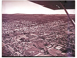"""Grahamstown, 1953. Aerial view of town."""
