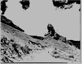 Bethlehem district, 1938. Rock spire next to road.
