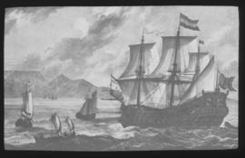 "Cape Town, circa 1668. The Dutch East Indiaman ""Africa"" in Table Bay."