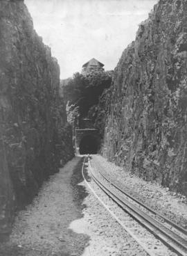 Waterval-Boven tunnel. Western portal with military blockhouse above.
