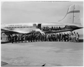Cape Town, May 1946. Trip to Cape Town with SAA Douglas DC-4 ZS-AUA 'Tafelberg', passengers posin...