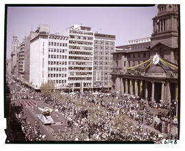 Johannesburg, 1964. South African Airways float at City Hall in Eloff Street during Johannesburg ...