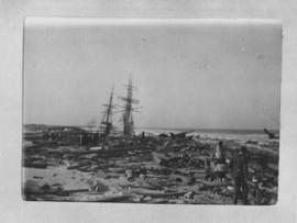 Port Elizabeth, 30 August and 1 September 1902. Aftermath of a storm in Algoa Bay with debris was...