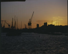 Port Elizabeth, 1986. Sunset over Port Elizabeth Harbour. [T Robberts]