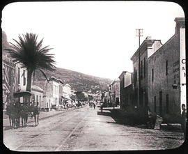 Cape Town, circa 1880. Street with tramlines before Crown & Anchor Hotel.